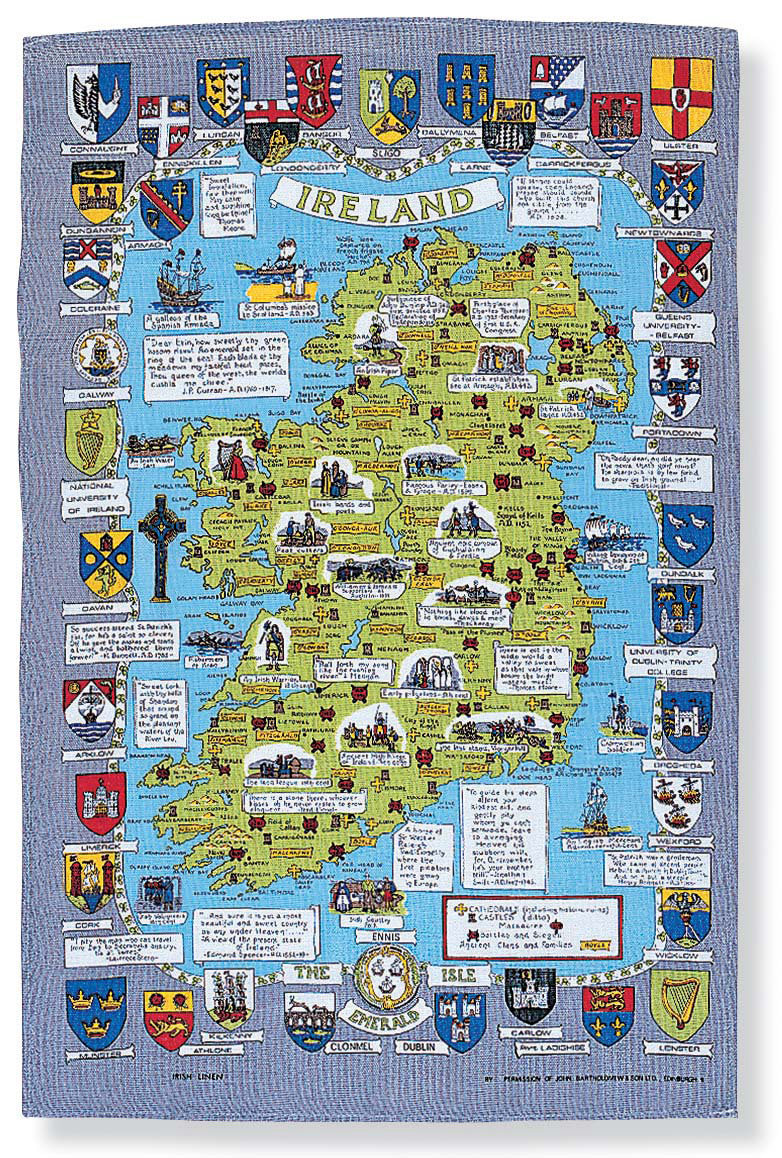 Map of Ireland Linen Tea Towel