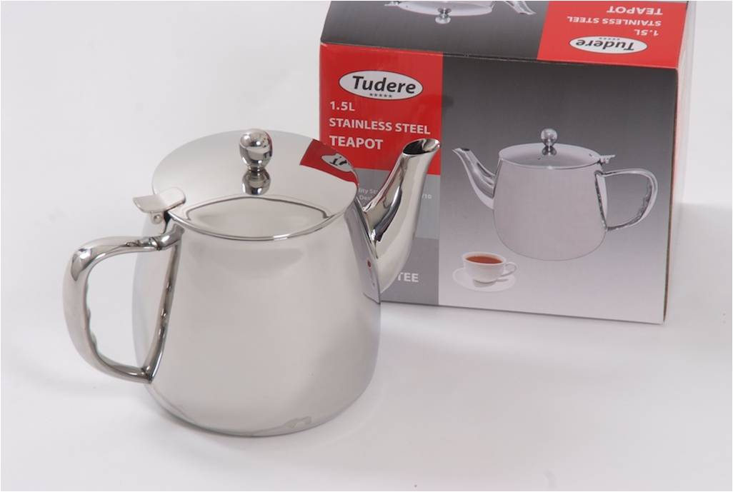 Tudere Stainless Steel 1.5Ltr Teapot - 25 Year Guarantee