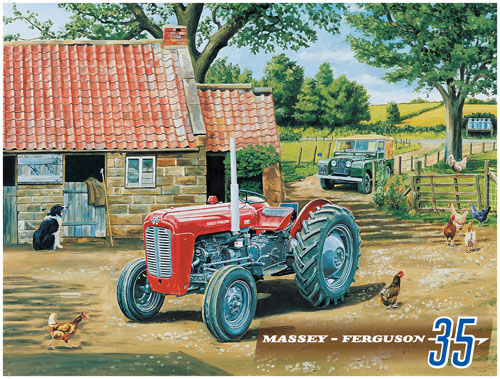 Massey Ferguson MF35 Red Tractor Metal Sign - Small