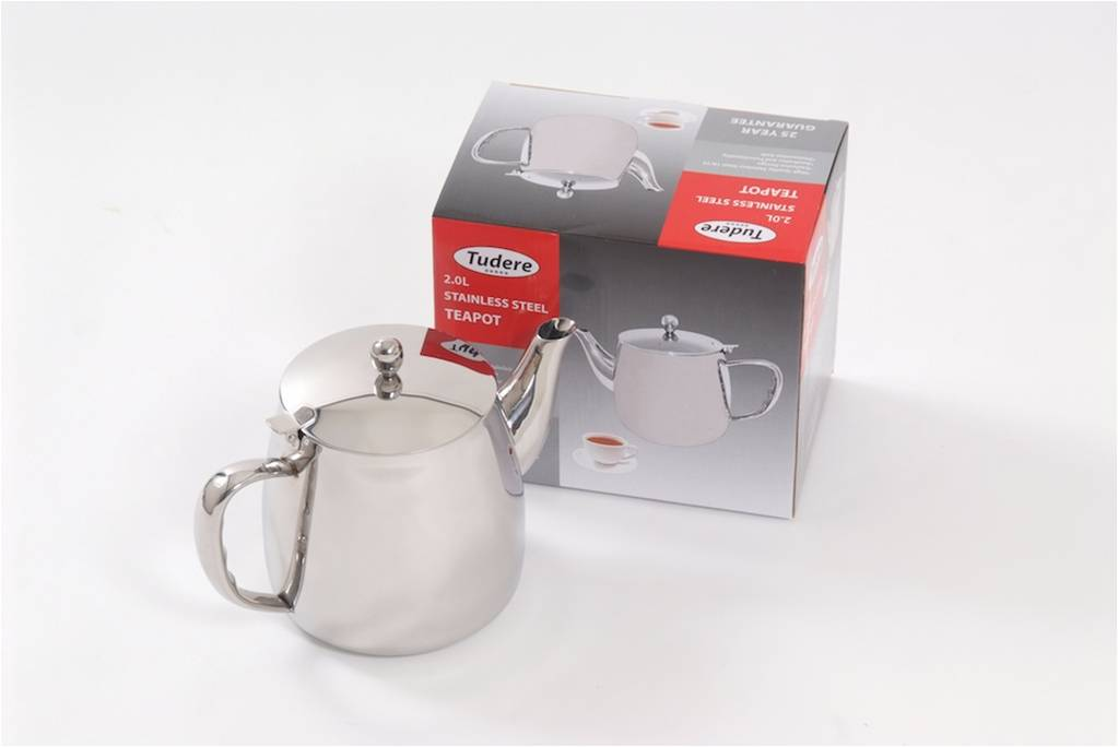 Tudere Stainless Steel 2.0Ltr Teapot - 25 Year Guarantee