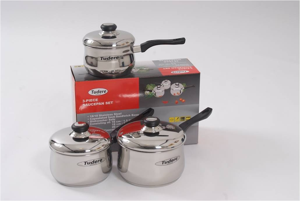 Tudere Stainless Steel Saucepan Set 3pc - 25 Year Guarantee