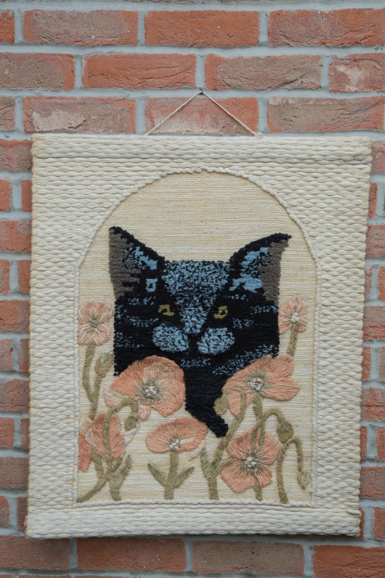 Black Cat Hand-made Jute Tapestry Wall Hanging