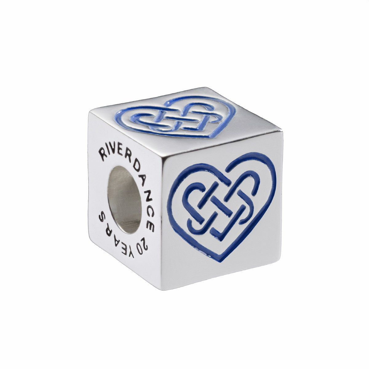 Official Riverdance Celtic Love Heart Cube Bead - Blue