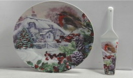 Christmas Robin Cake Plate and Server
