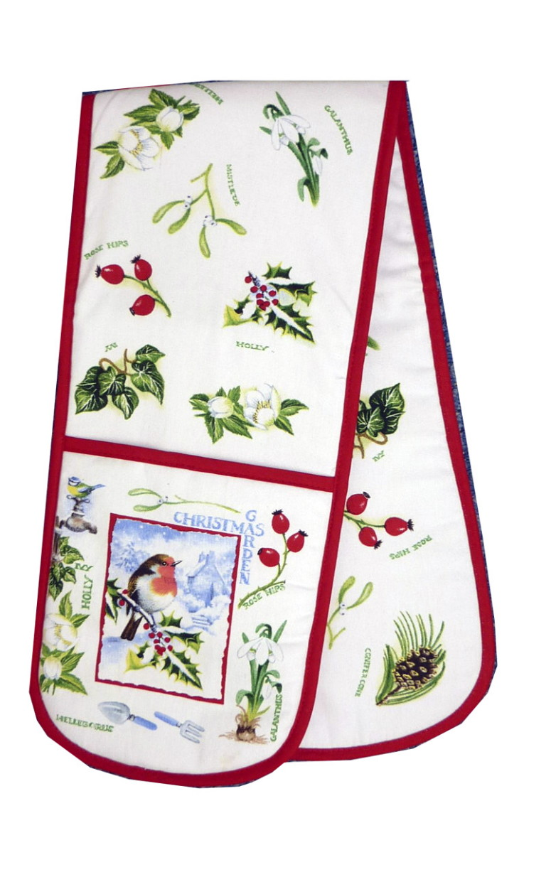 Christmas Garden Cotton Double Oven Glove
