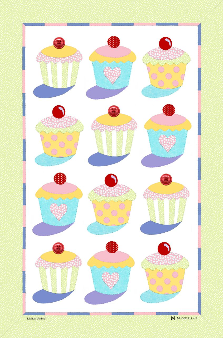 Cup Cakes Linen Tea Towel