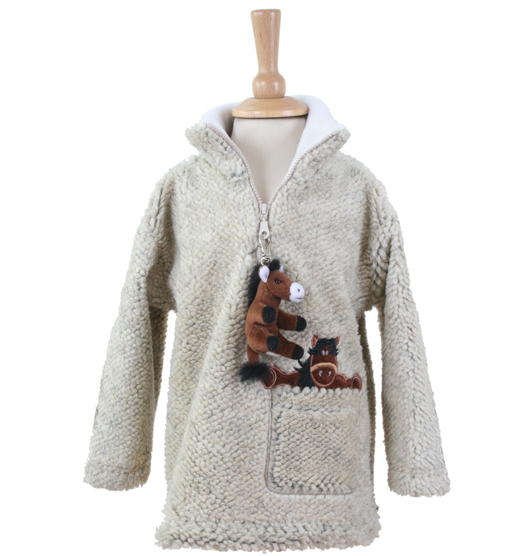 Dangly Horse Zip Neck Fleece With Keyring - Pebble