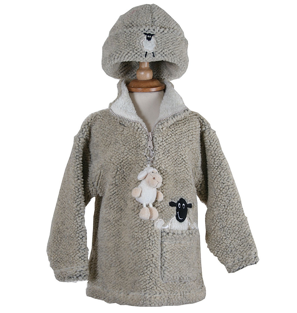 Dangly Sheep Zip Neck Fleece With Keyring - Pebble