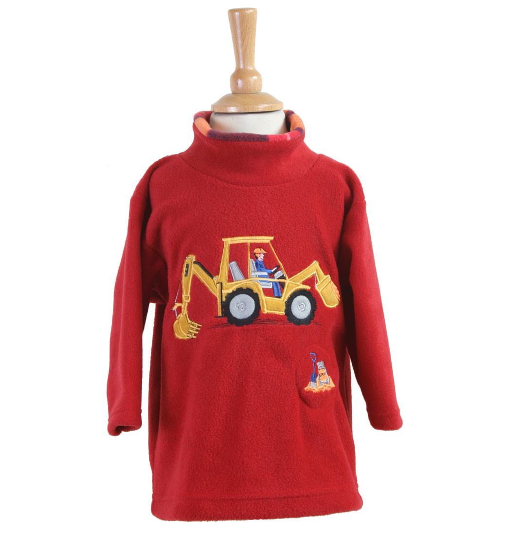 Digger Crew Neck Fleece With Sound Effects - Red