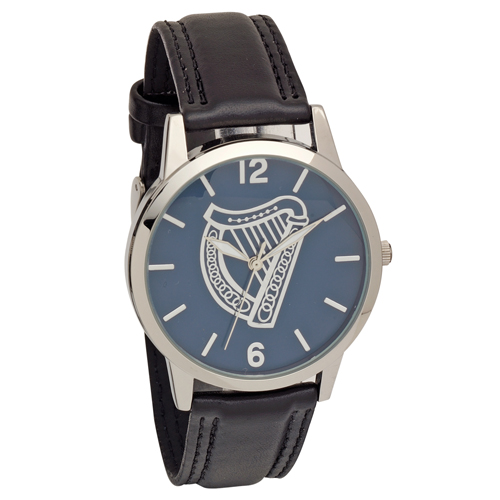 Harp Embossed Dial Wrist Watch with Black Strap - Low Nickel