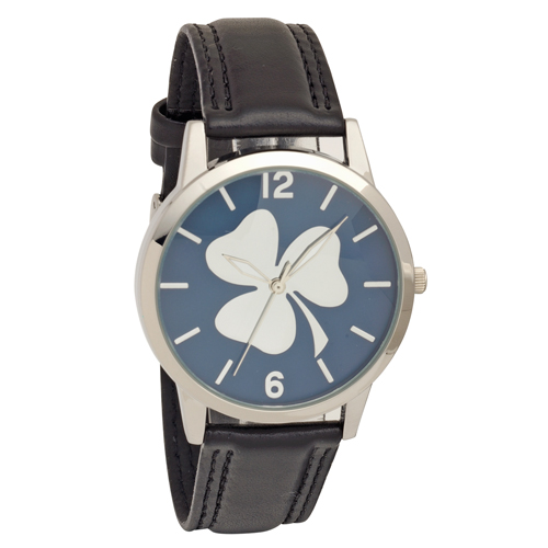 Shamrock Embossed Dial Wrist Watch with Black Strap - Low Nickel
