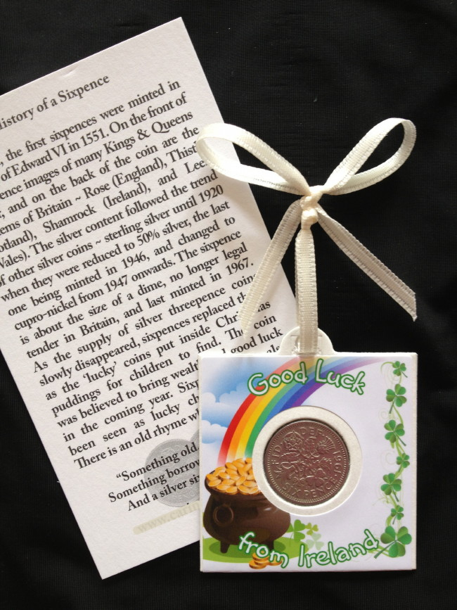 Good Luck From Ireland Pot of Gold Sixpence Card
