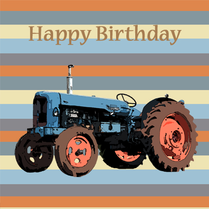 Blue Tractor Happy Birthday Card