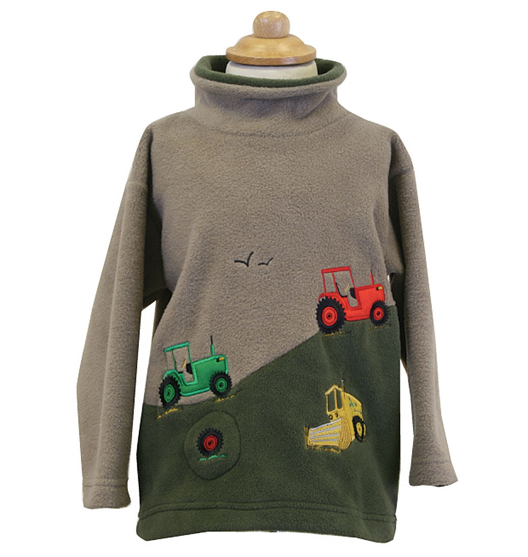 Hillside Tractors Crew Neck Fleece With Sound Effects - Camel