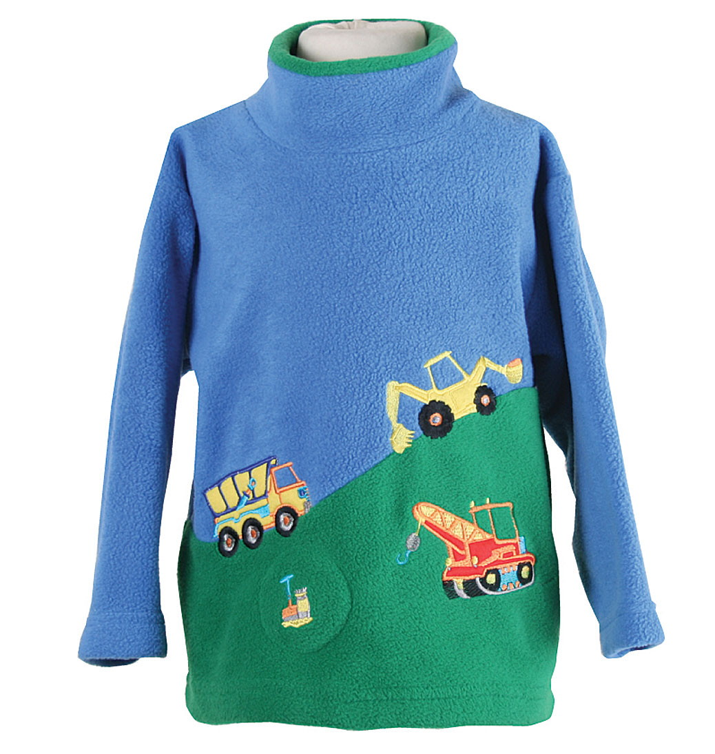 Hillside Trucks Crew Neck Fleece With Sound Effects - Blue/Green