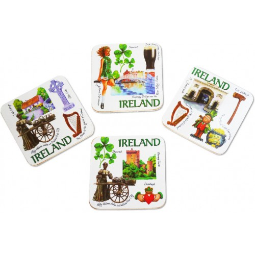 Iconic Ireland Set of 4 Square Coasters