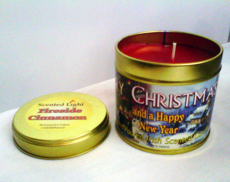 Merry Christmas Cinnamon Hand Poured Candle In A Tin