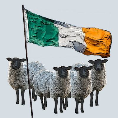 Irish Flag and Sheep Greeting Card