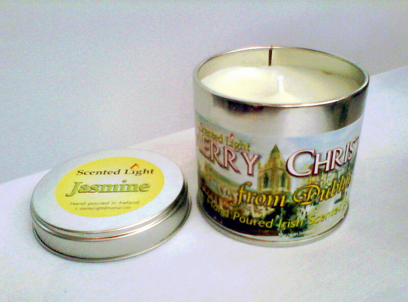 Merry Christmas From Dublin Hand Poured Jasmine Candle In A Tin