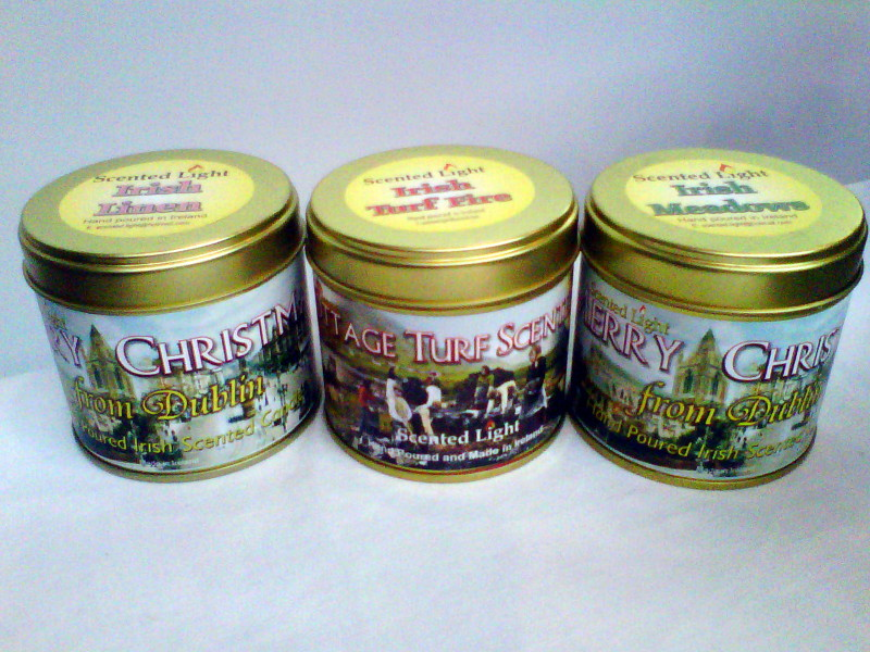 Set Of 3 Irish Scented Light Hand Poured Candles In Tins