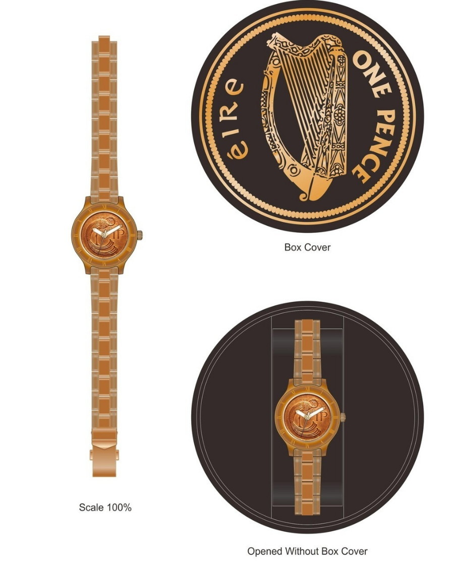 Irish One Pence Ladies Watch - Brushed Copper - New