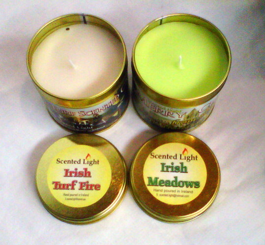 Irish Turf Fire and Irish Meadows Hand Poured Candle In Tins
