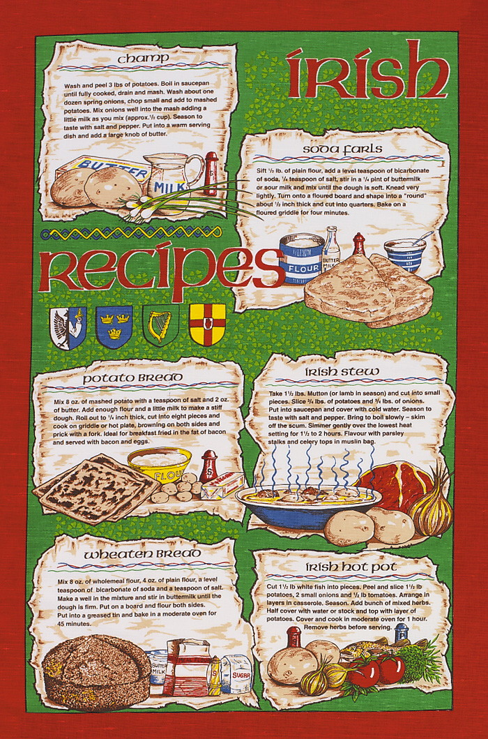 Irish Recipies Linen Union Tea Towel 1