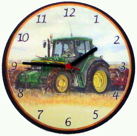 John Deere Tractor Battery Wall Clock