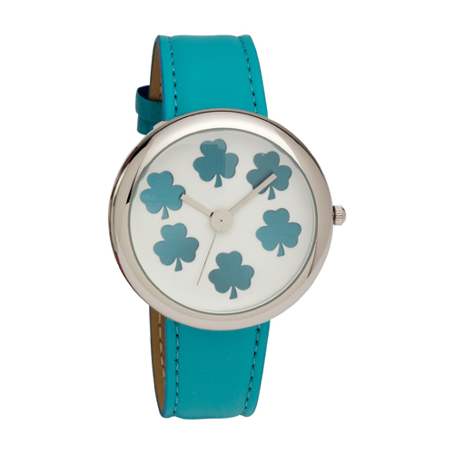 Ladies Shamrock Dial Wrist Watch with Aqua PU Strap