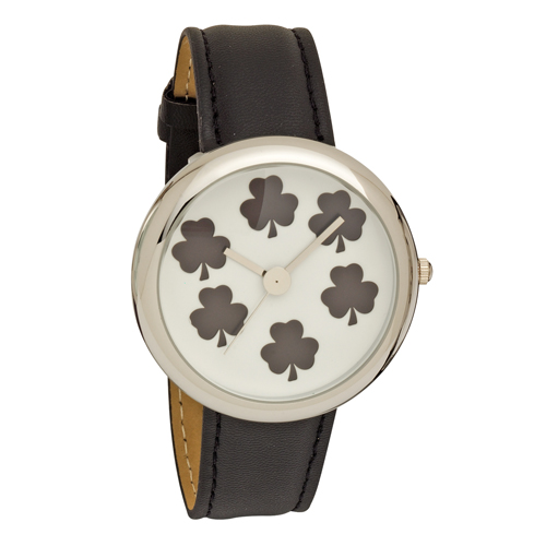 Ladies Shamrock Dial Wrist Watch with Black PU Strap
