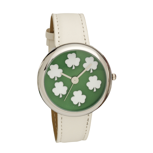 Ladies Shamrock Dial Wrist Watch with White PU Strap