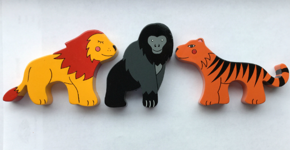 Lion, Gorilla and Tiger Magnets - Set of 3