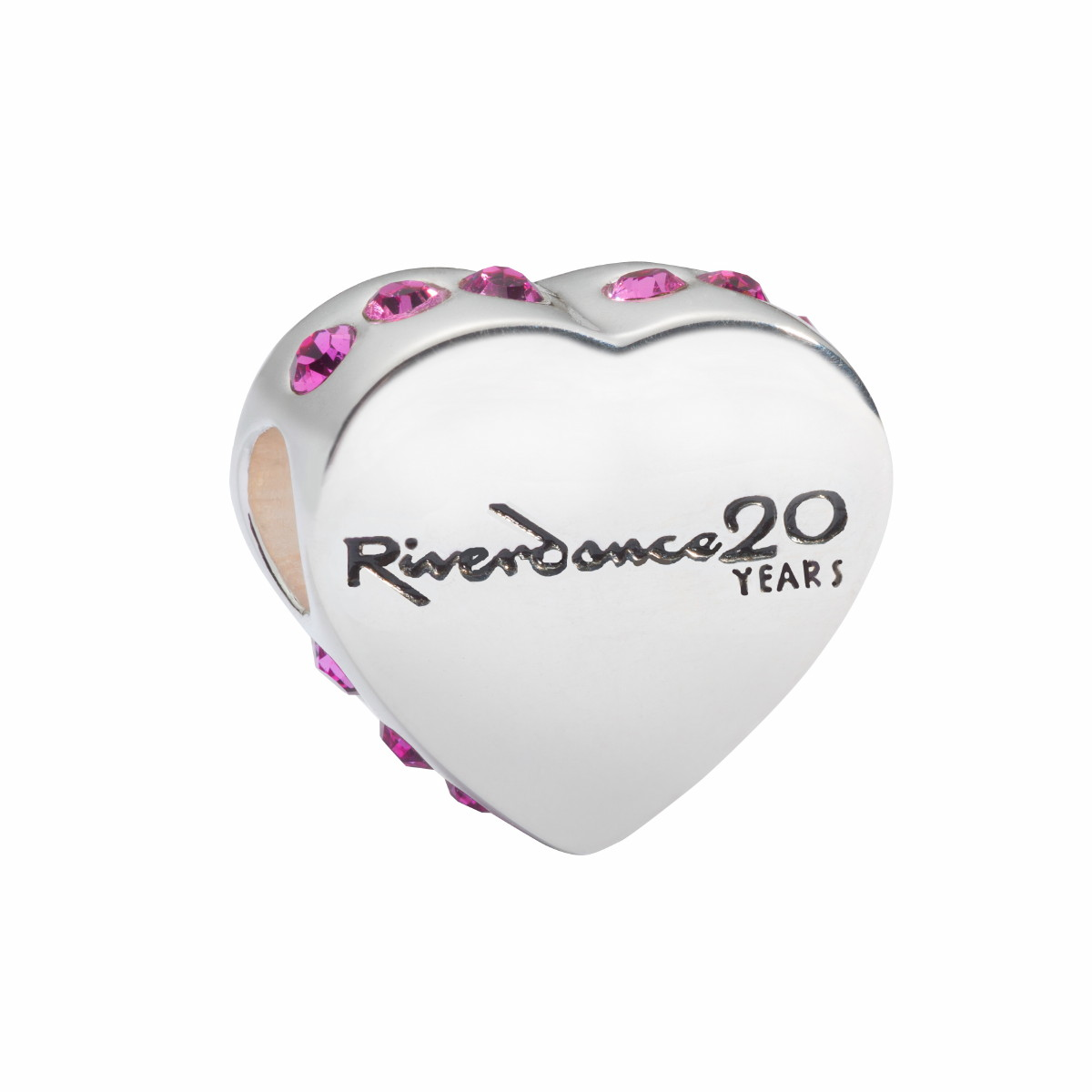Official Riverdance Jewellery Love Heart Bead - Vivid Pink