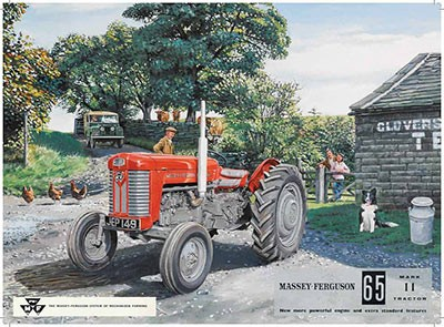 Massey Ferguson 65 Red Tractor Metal Sign