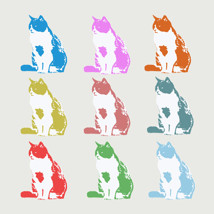 Nine Cats Greeting Card