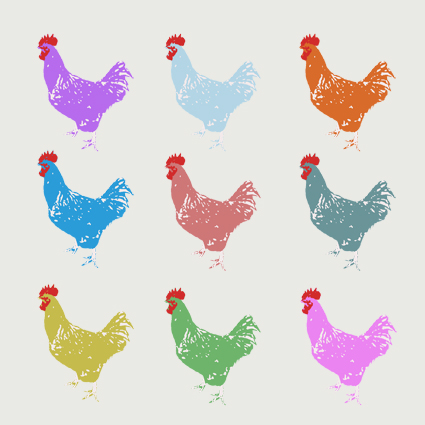 Nine Chickens Greeting Card