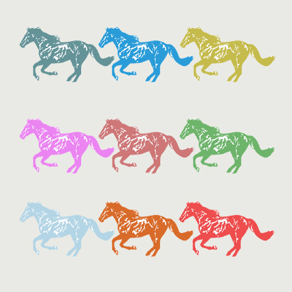 Nine Horses Greeting Card