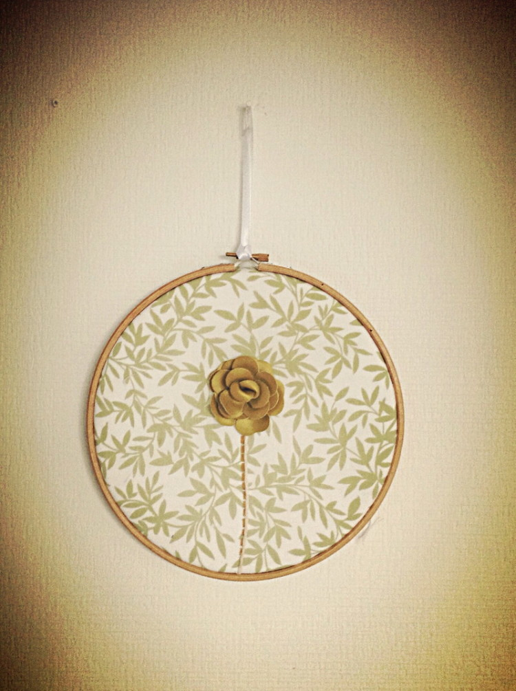 Green Rose Handmade on Pattern Cotton Embroidery Hoop - 8""