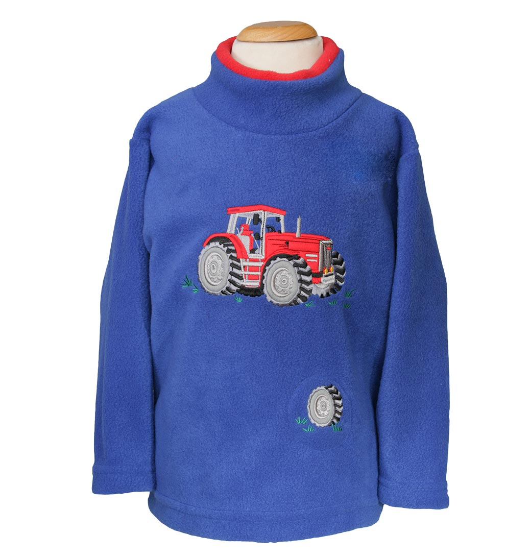 Red Tractor Sound Effect Fleece - Royal Blue