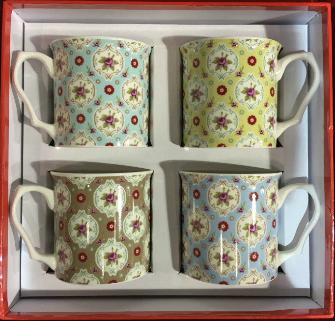 The Buds Range 4 Piece China Mug Gift Set