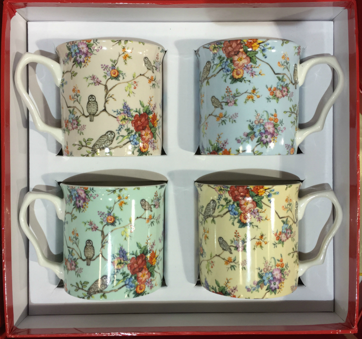 The Owly Range 4 Piece China Mug Gift Set