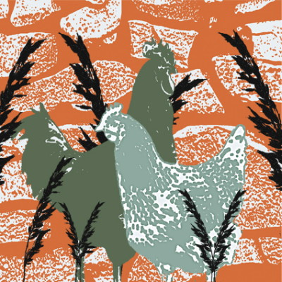 Two Chickens Greeting Card