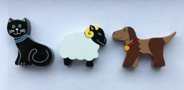 Cat, Sheep and Dog Magnets - Set of 3
