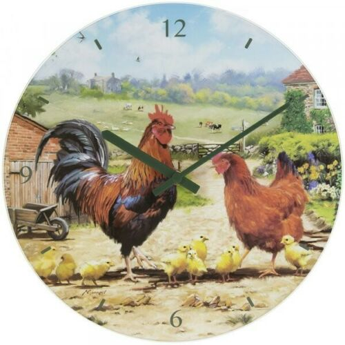 Cockerel and Hen Battery Operated Glass Wall Clock