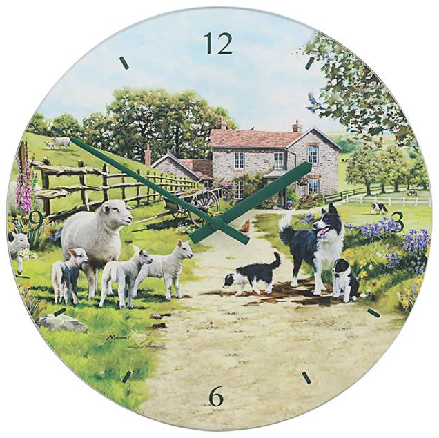 Collie and Sheep Battery Operated Glass Wall Clock