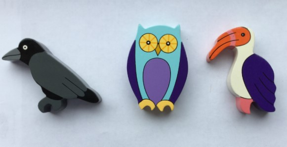 Crow, Owl and Hornbill Magnets - Set of 3