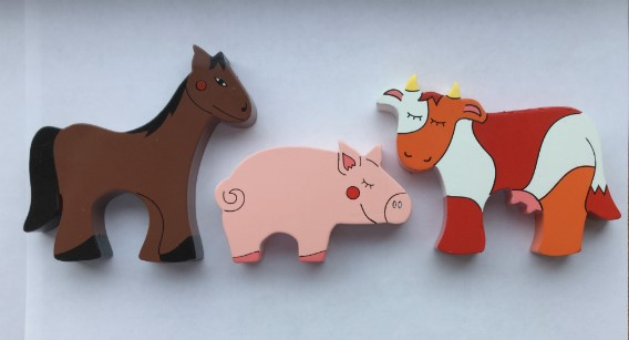 Horse, Pig and Cow Farm Animal Magnets - Set of 3