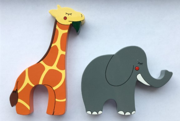 Giraffe and Elephant Magnets - Set of 2