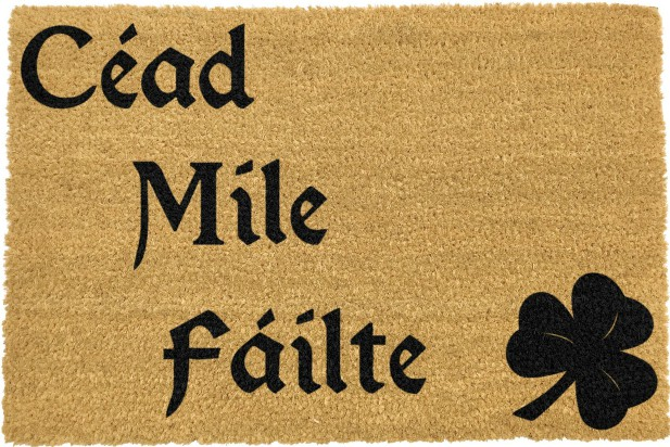 Irish Cead Mile Failte Doormat - Black