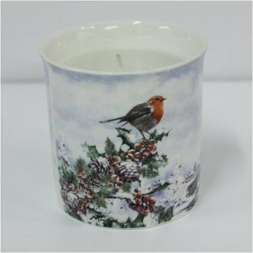 Christmas Robins Fine China Candle Holder with Scented Candle